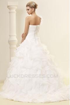A-Line One-Shoulder Court Train Wedding Dresses 2031447