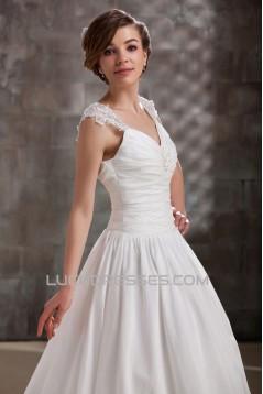 A-Line V-Neck Floor-Length Straps Sleeveless Wedding Dresses 2031448