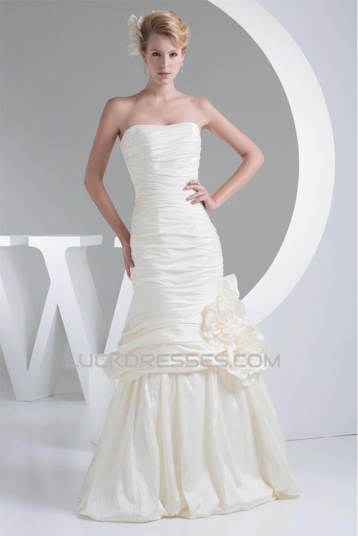 Fantastic Taffeta Sleeveless Mermaid/Trumpet Strapless Wedding Dresses 2030145