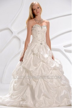 A-Line Sweetheart Beaded Lace Court Train Wedding Dresses 2031450