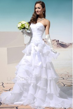 A-Line Sweetheart Court Train Wedding Dresses 2031452