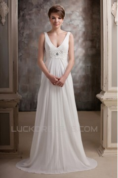 A-Line V-Neck Straps Sleeveless Sweep Train Beaded Wedding Dresses 2031454