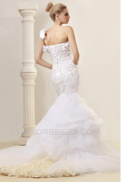 Trumpet/Mermaid One-Shoulder Court Train Beaded Wedding Dresses 2031455