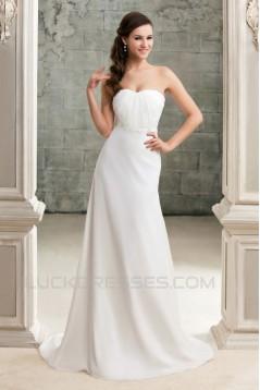 Sheath/Column Strapless Court Train Wedding Dresses 2031457