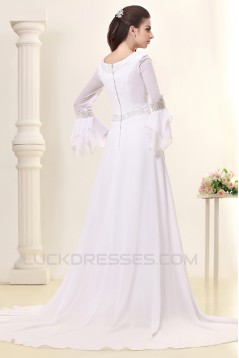 A-Line Sweep Train Long Sleeve Beaded Chiffon Wedding Dresses 2031458