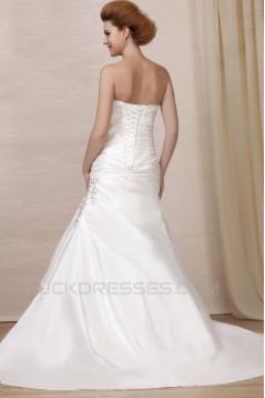 A-Line Strapless Court Train Beaded Wedding Dresses 2031459