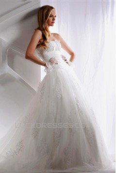 A-Line Strapless Court Train Beaded Lace Wedding Dresses 2031460