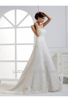 A-Line Strapless Court Train Lace Wedding Dresses 2031461