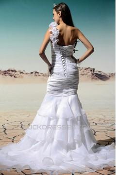 Trumpet/Mermaid One-Shoulder Court Train Beaded Wedding Dresses 2031462