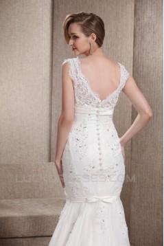 Trumpet/Mermaid V-Neck Beaded Lace Court Train Wedding Dresses 2031464