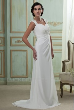 Sheath/Column Sweetheart Sweep Train Lace Chiffon Wedding Dresses 2031465
