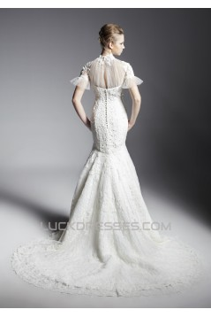 Trumpet/Mermaid High-Neck Court Train Short Sleeve Lace Wedding Dresses 2031466