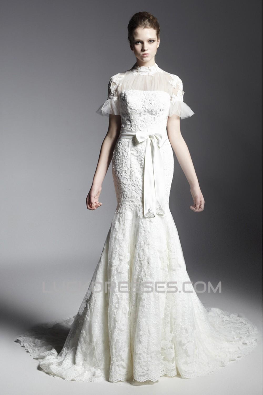 Trumpet Mermaid High Neck Court Train Short Sleeve Lace Wedding Dresses 2031466