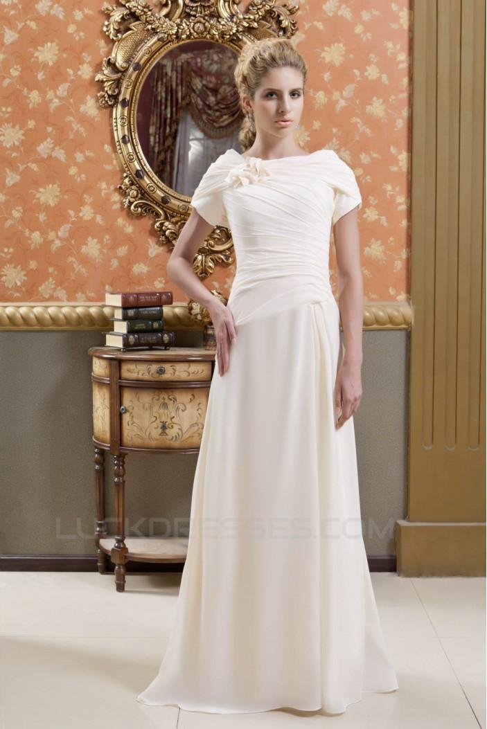 Sheath/Column Short Sleeve Floor-Length Wedding Dresses 2031467