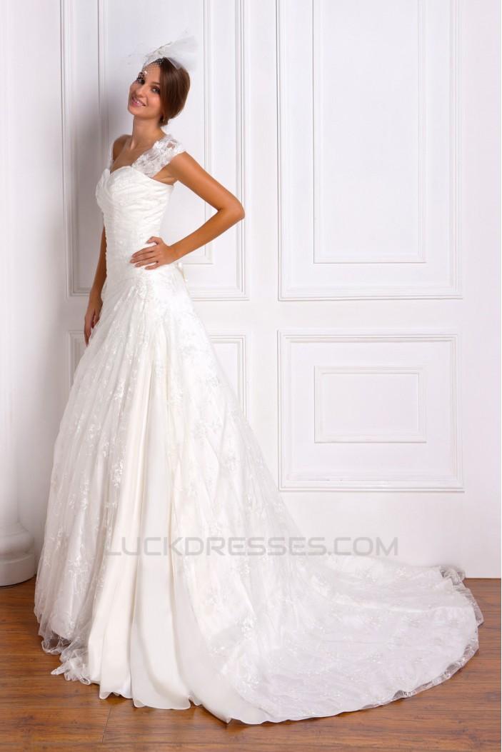 A-Line Off-the-Shoulder Court Train Lace Wedding Dresses 2031469