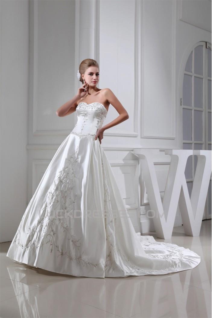 fashionable A-Line Sweetheart Satin Sleeveless Embroidered Sweet Wedding Dresses 2030147