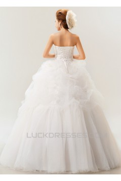 Ball Gown Strapless Court Train Beaded Lace Wedding Dresses 2031470