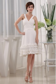 A-Line Sleeveless Ruffles Knee-Length V-Neck Reception Wedding Dresses 2031474