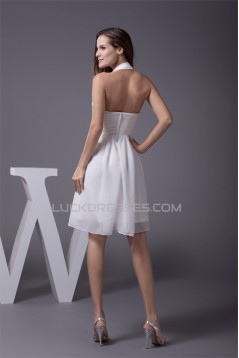 A-Line Short/Mini Halter Beading Chiffon Reception Wedding Dresses 2031475