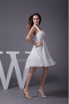 A-Line Short/Mini Halter Beading Chiffon Reception Wedding Dresses 2031475