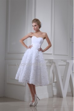 A-Line Soft Sweetheart Tea-Length Reception Wedding Dresses 2031477