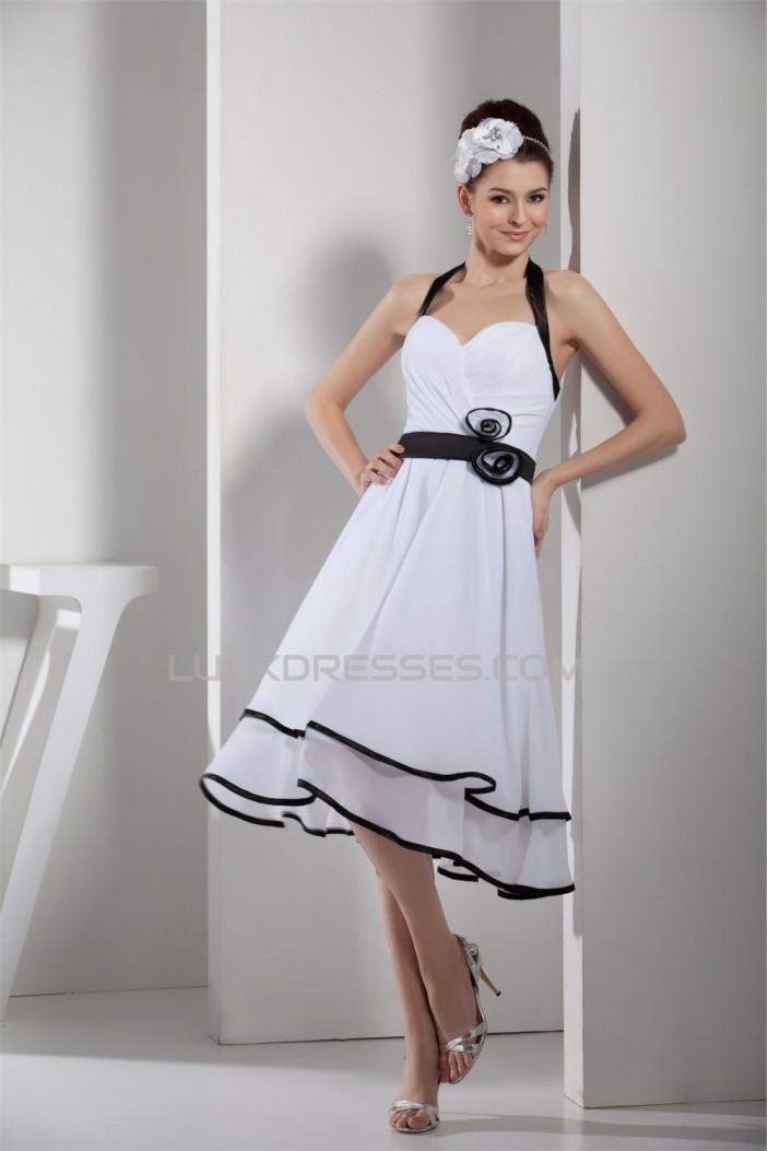 Amazing Knee-Length Chiffon Halter Reception Wedding Dresses 2031478