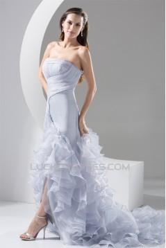 fashionable Organza Silk like Satin Strapless Princess Wedding Dresses 2030148