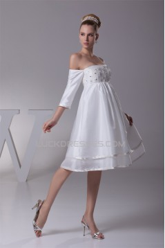 Beautiful Taffeta Square A-Line Half Elbow Sleeve Wedding Dresses Maternity Wedding Dresses 2031482