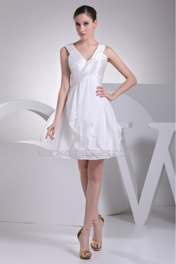Chiffon Silk like Satin A-Line V-Neck Sleeveless Wedding Dresses 2031484