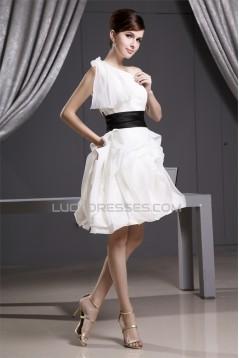 Elegant A-Line Short/Mini Draped One-Shoulder Reception Wedding Dresses 2031485