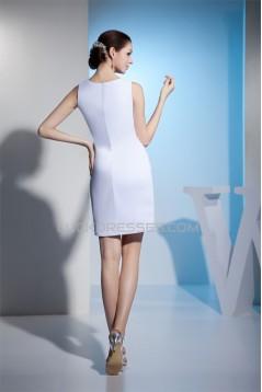 Fantastic Chiffon Satin Sleeveless Scoop Sheath/Column Wedding Dresses 2031486