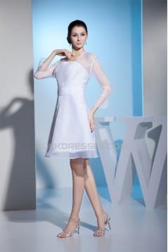 Long Sleeve A-Line Satin Organza Square Wedding Dresses 2031488