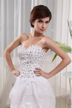 Floor-Length Sweetheart Satin Organza Beading Little White Dresses 2031489