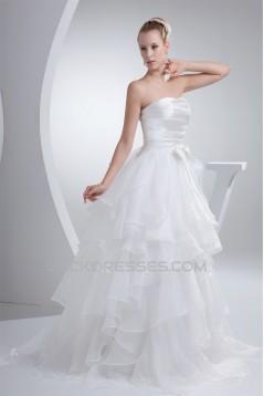 fashionable Satin Organza A-Line Strapless Best Wedding Dresses 2030149