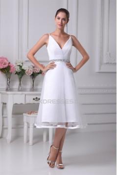 Great Satin Fine Netting Sleeveless V-Neck A-Line Beaded Reception Wedding Dresses 2031490