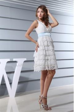 Hot Sale V-Neck A-Line Satin Lace Knee-Length Little White Dresses 2031493