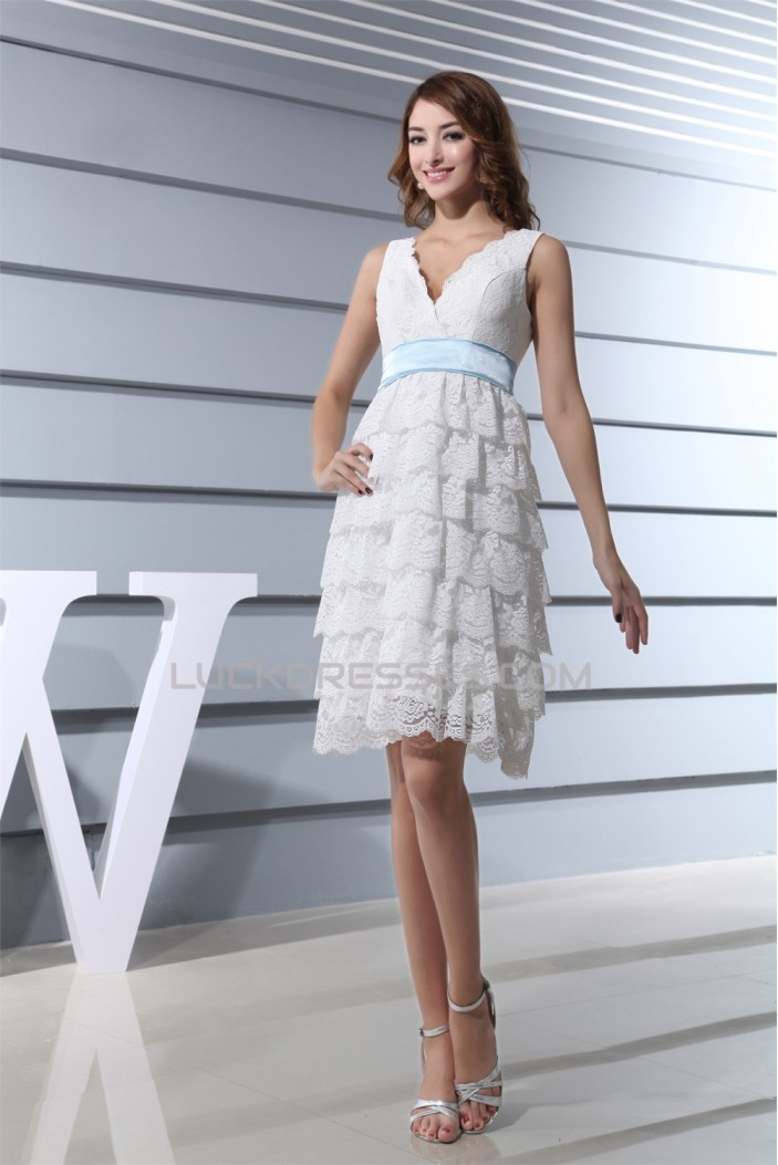 Hot Sale V-Neck A-Line Satin Lace Knee-Length Little White Dresses 2031493