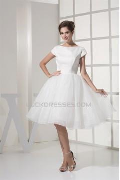 Knee-Length Satin Organza Netting Material Wedding Dresses 2031494