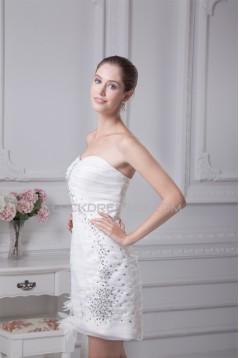 New Design Sheath/Column Sweetheart Beaded Satin Organza Short Wedding Dresses 2031495