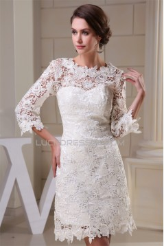 Sheath/Column Scoop 3/4 Length Sleeve Lace Little White Dresses Wedding Dresses 2031496