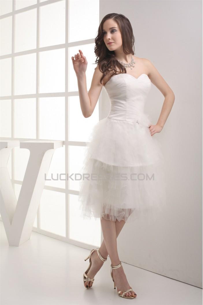 Satin Fine Netting Sleeveless A-Line Sweetheart Wedding Dresses 2031497