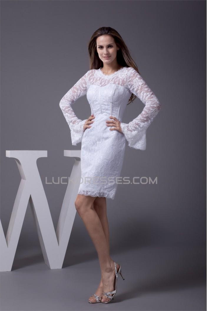 Satin Lace Short/Mini Scoop Sheath/Column Long Sleeve Wedding Dresses 2031499