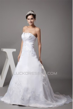 fashionable Strapless Satin Organza A-Line Sweet Wedding Dresses 2030150