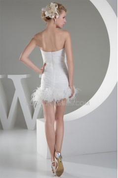 Satin Organza Sleeveless Sheath/Column Beaded Sweetheart Short Wedding Dresses 2031500