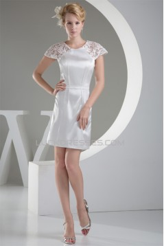 Scoop Lace Silk like Satin Lace Short Reception Wedding Dresses 2031501