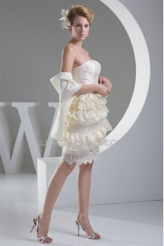 Sheath/Column Knee-Length Ruffles Sleeveless Lace Short Wedding Dresses 2031502