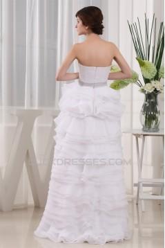 High Low Satin Organza Sleeveless Wedding Dresses 2031503