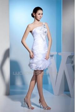 Sheath/Column One-Shoulder Beaded Reception Wedding Dresses 2031504