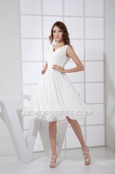 A-Line V-Neck Sleeveless Chiffon Reception Wedding Dresses 2031506