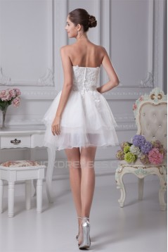 A-Line Satin Fine Netting Strapless Lace Short Reception Wedding Dresses 2031507
